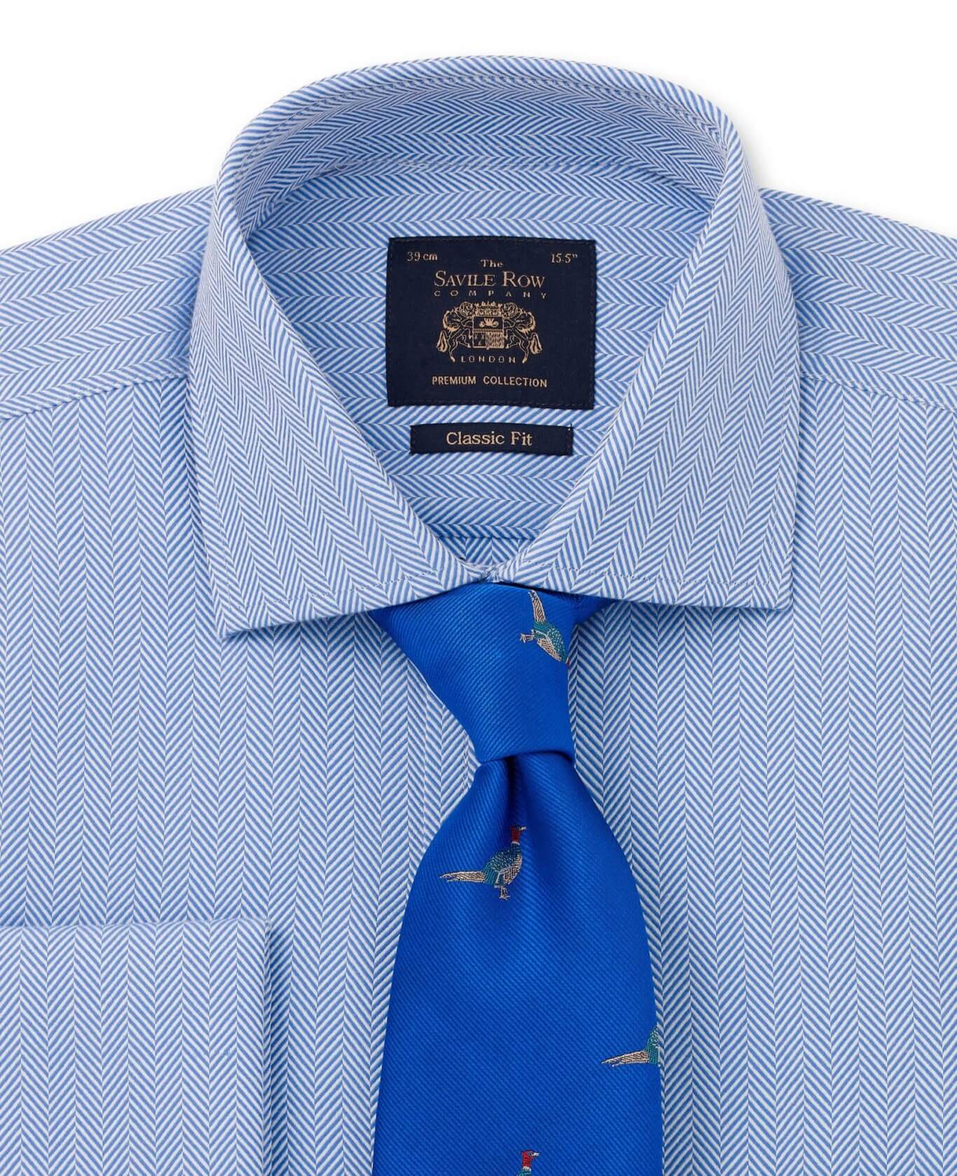 Premium Blue Large Herringbone Classic Fit Double Cuff Shirt-1000BLU