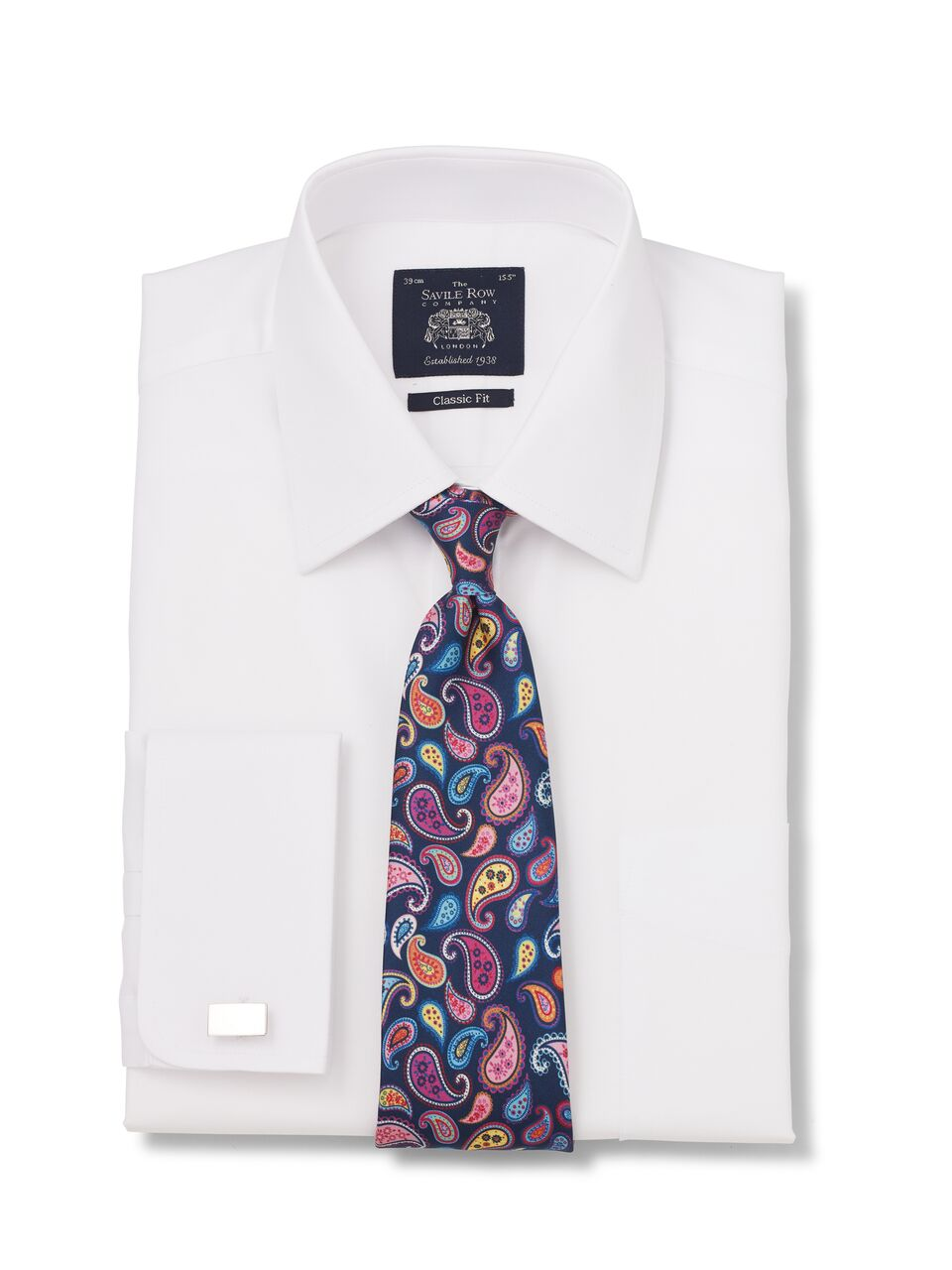 White Dobby Classic Fit Shirt Double Cuff-1077wht