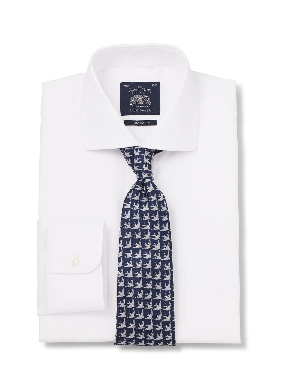 WHITE PINPOINT CLASSIC FIT SHIRT SINGLE CUFF-1117wht