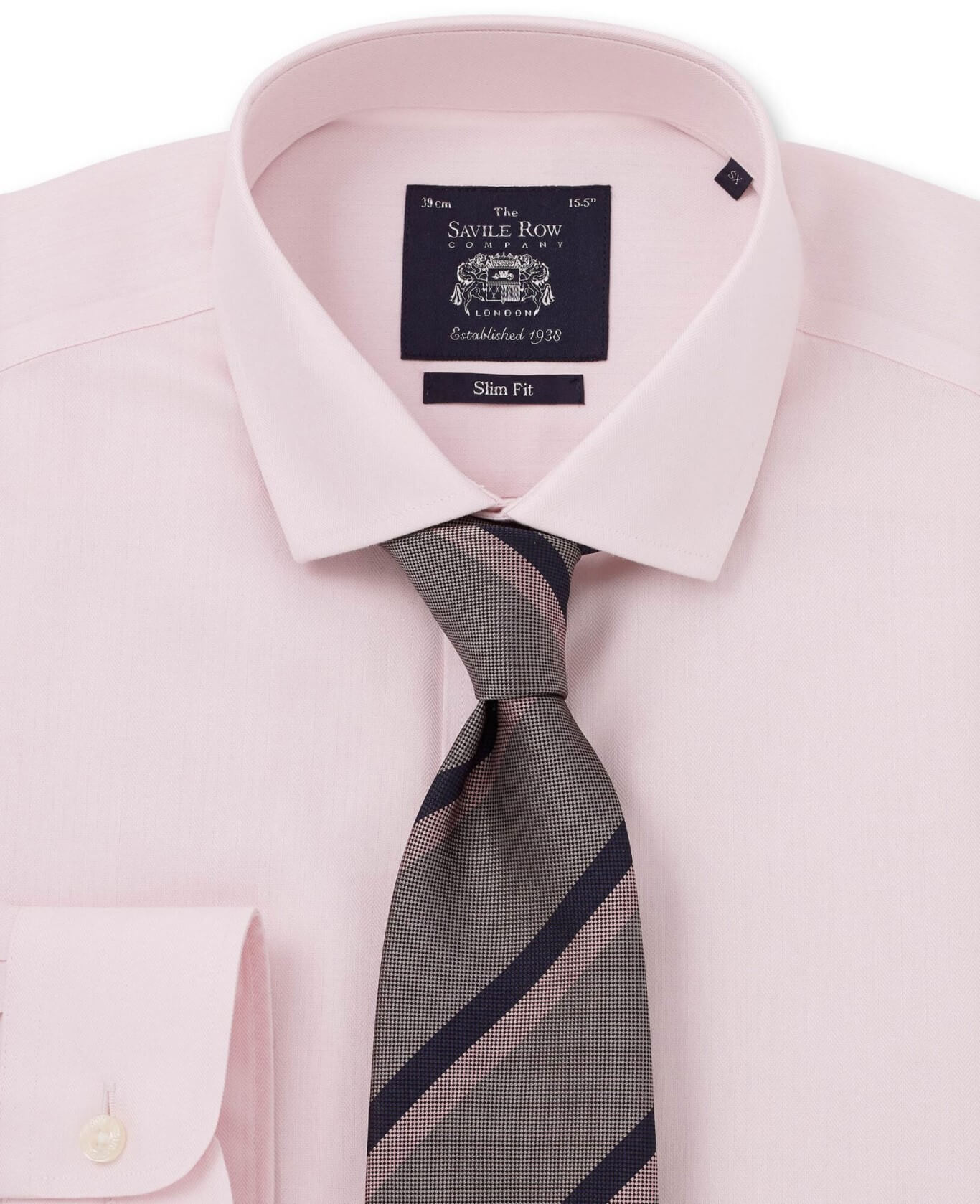 PINK HERRINGBONE NON IRON SLIM FIT SINGLE CUFF SHIRT-958PNK