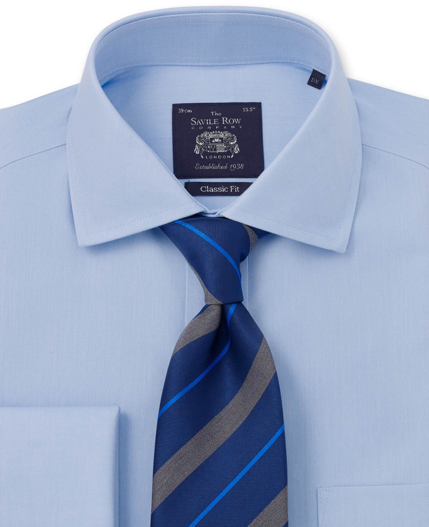 NON-IRON BLUE HERRINGBONE CLASSIC FIT SHIRT – SINGLE CUFF-962BLU