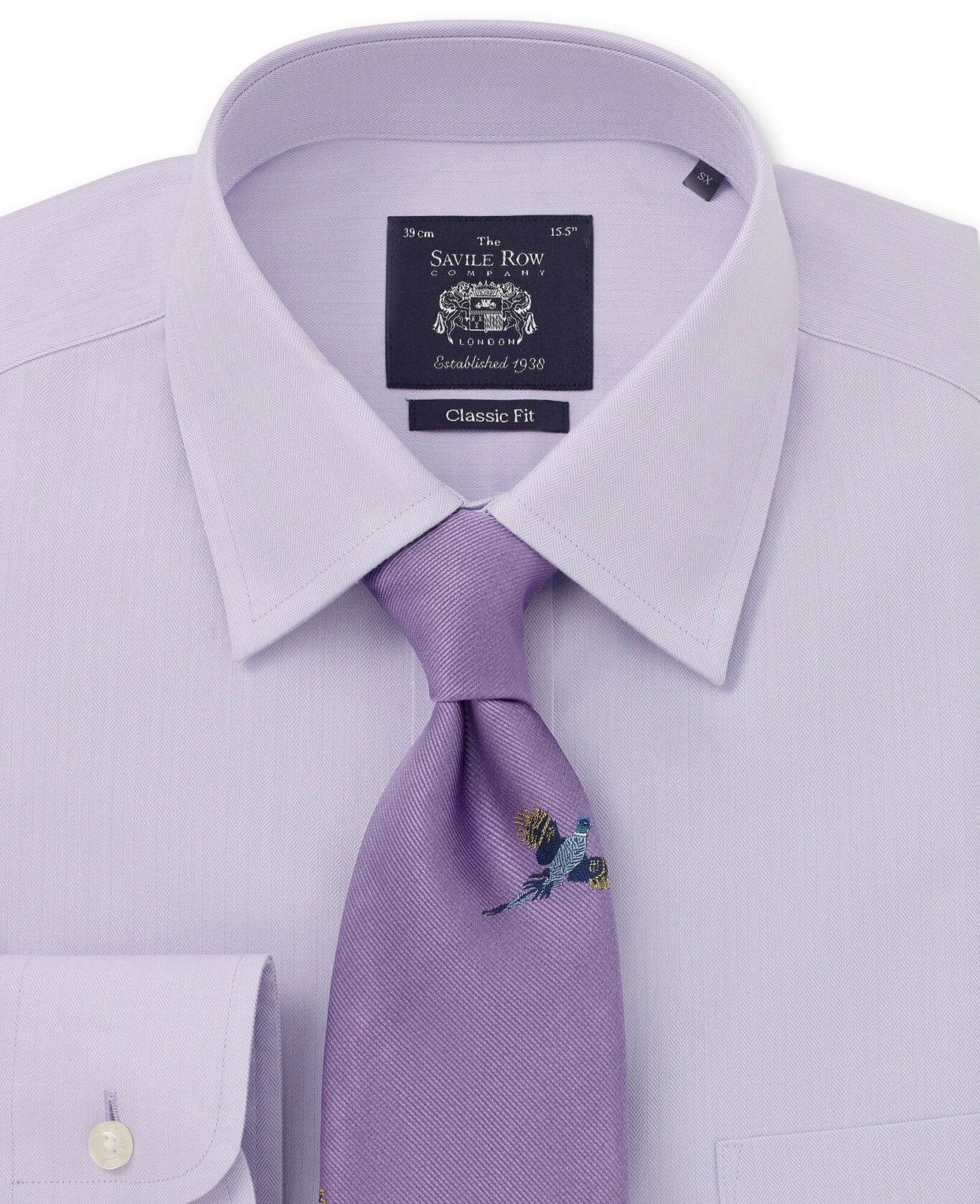NON-IRON LILAC HERRINGBONE CLASSIC FIT SHIRT – SINGLE CUFF-962LIL