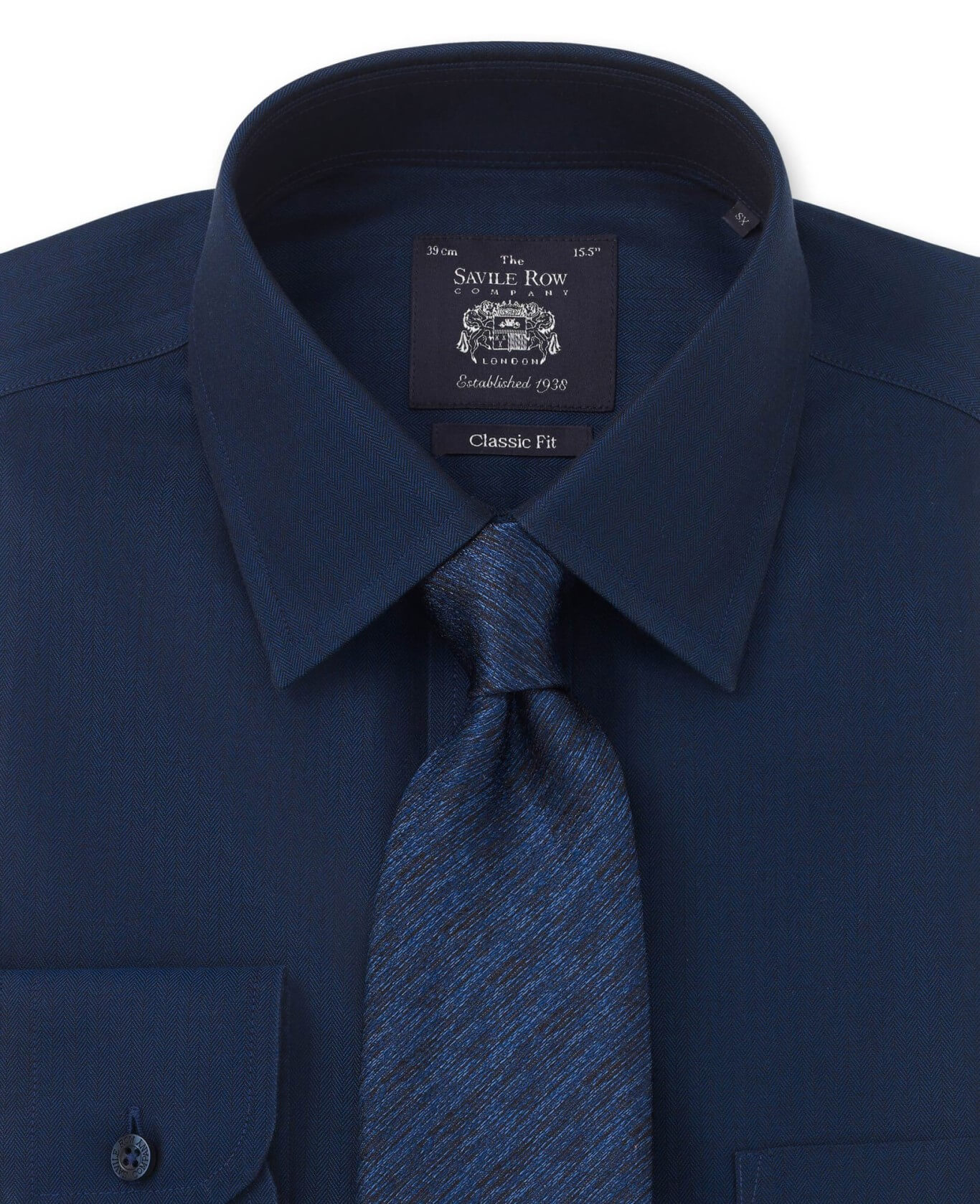 NON-IRON DARK NAVY HERRINGBONE CLASSIC FIT SHIRT – SINGLE CUFF-962NAV