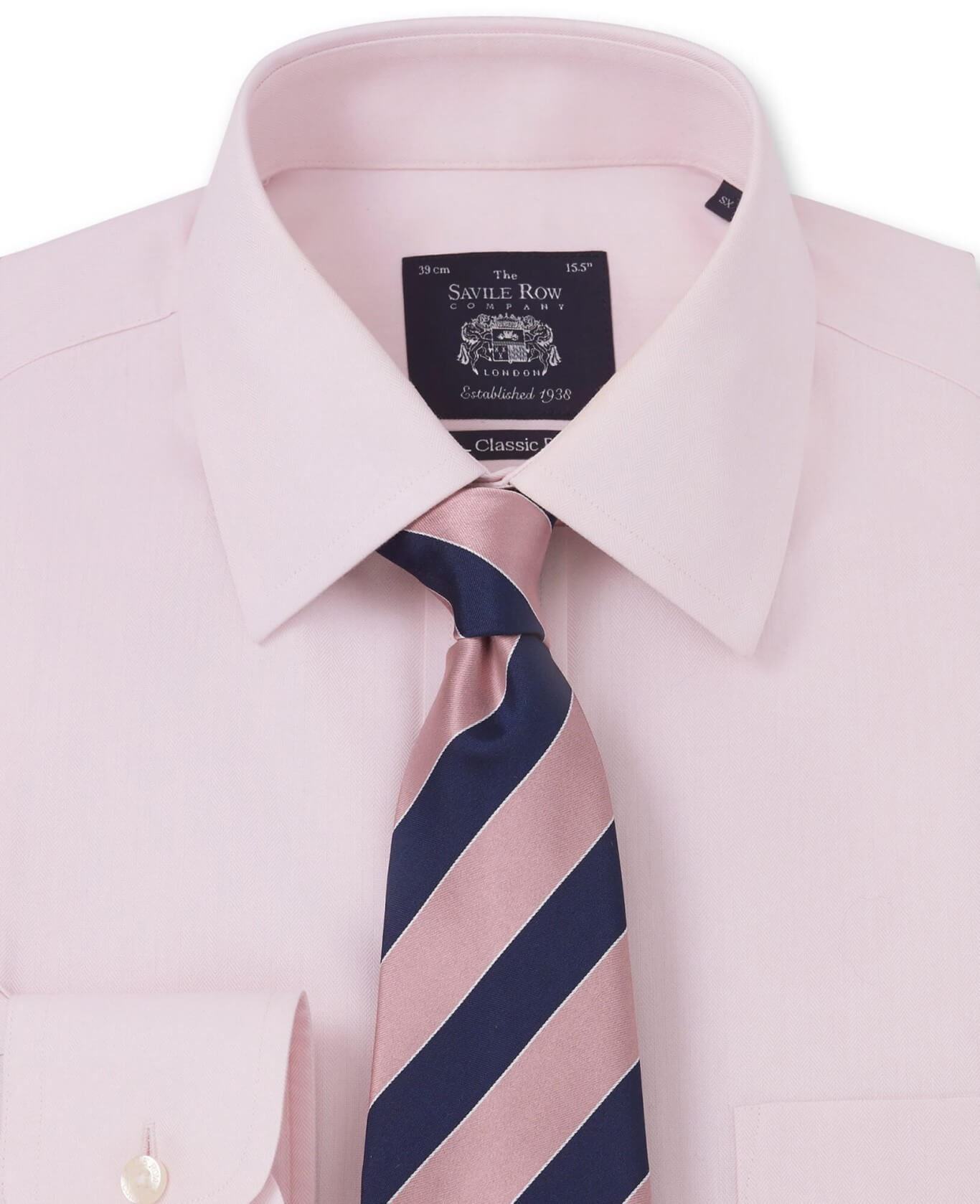 NON-IRON PINK HERRINGBONE CLASSIC FIT SHIRT – SINGLE CUFF-962PNK