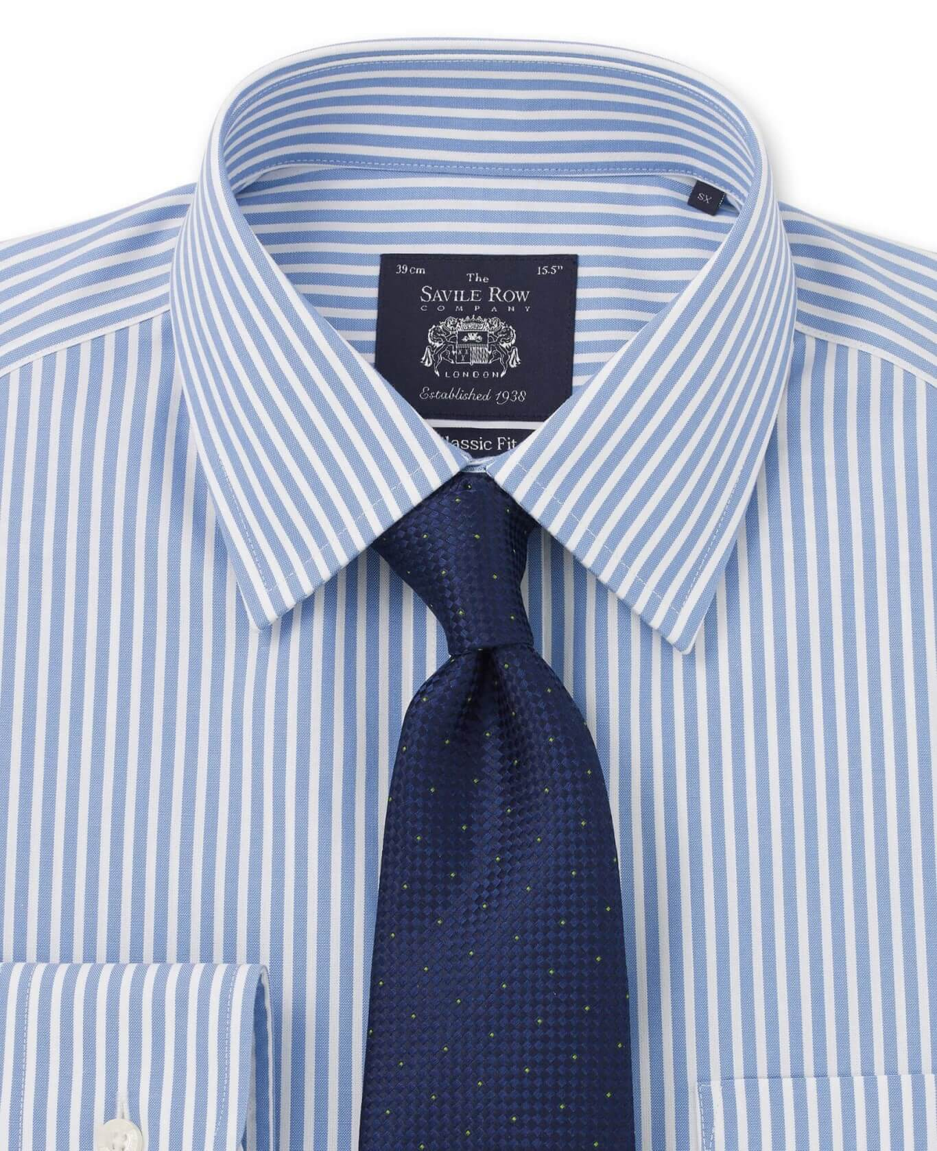NON-IRON BLUE WHITE BENGAL STRIPE CLASSIC FIT SHIRT – DOUBLE CUFF-969BLU