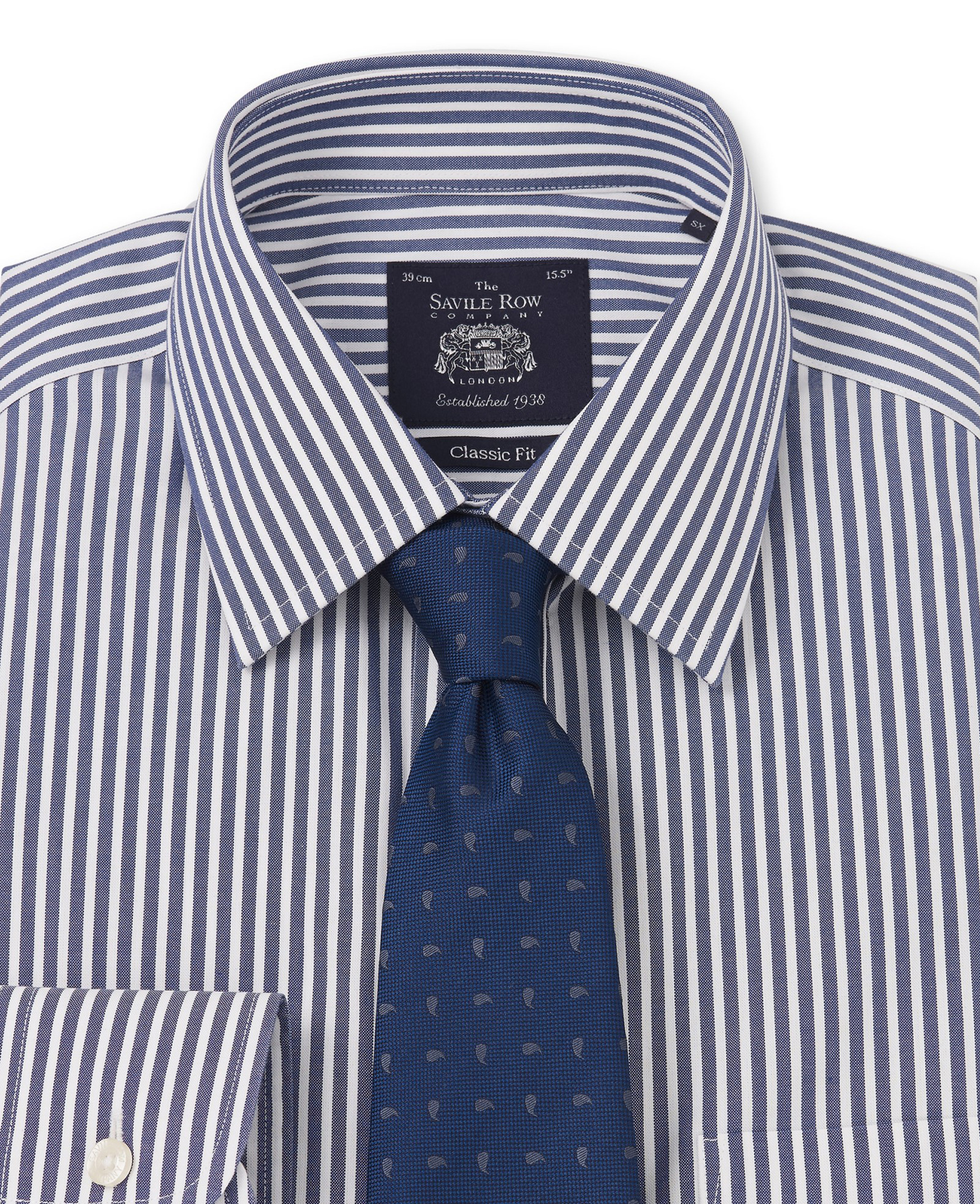 NON-IRON NAVY WHITE BENGAL STRIPE CLASSIC FIT SHIRT- SINGLE CUFF-969SNAV