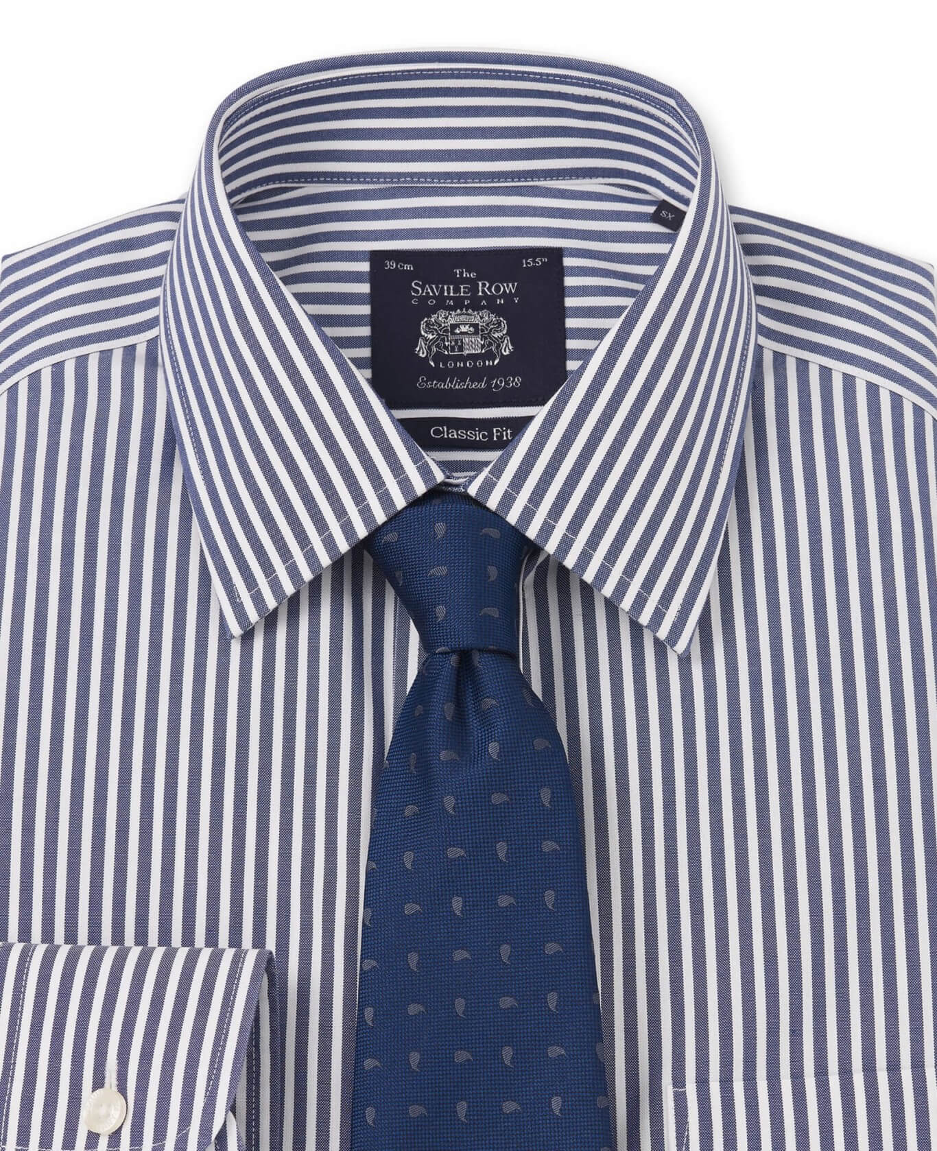 NON-IRON NAVY WHITE BENGAL STRIPE CLASSIC FIT SHIRT- DOUBLE CUFF-969DNAV