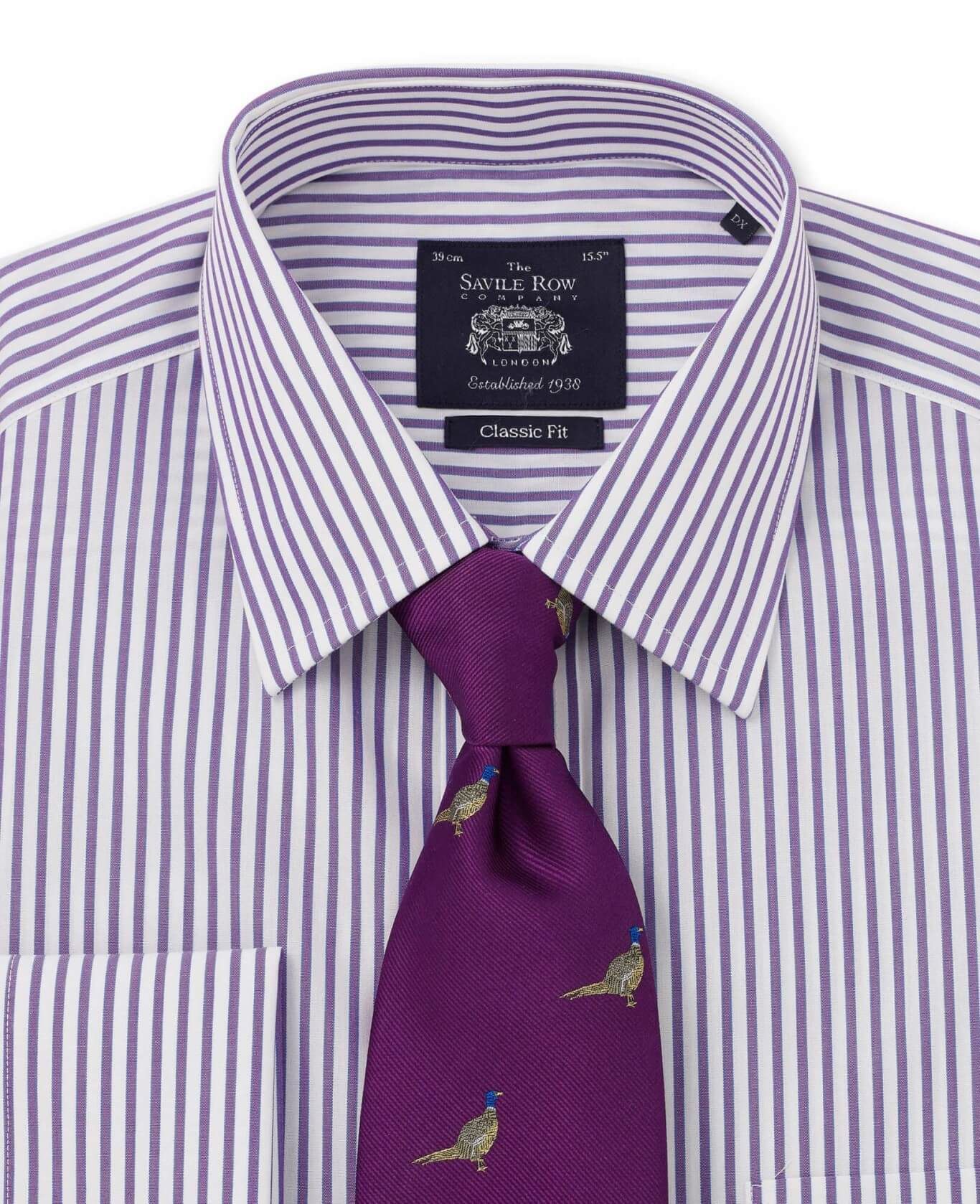 NON-IRON PURPLE WHITE BLUE BENGAL STRIPE CLASSIC FIT SHIRT – SINGLE CUFF-972PUR