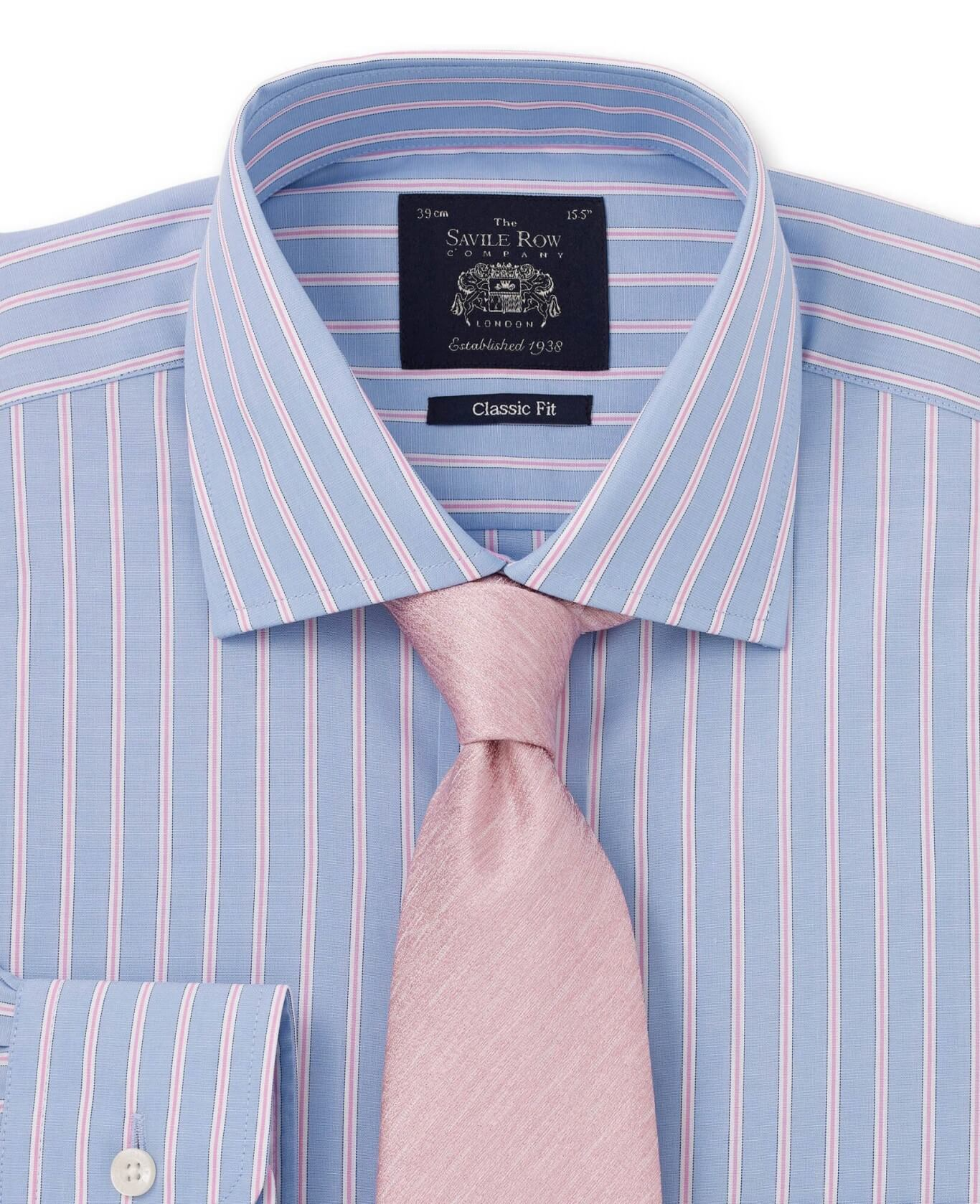 Blue Pink White Stripe Classic Fit Single Cuff Shirt-982BLP