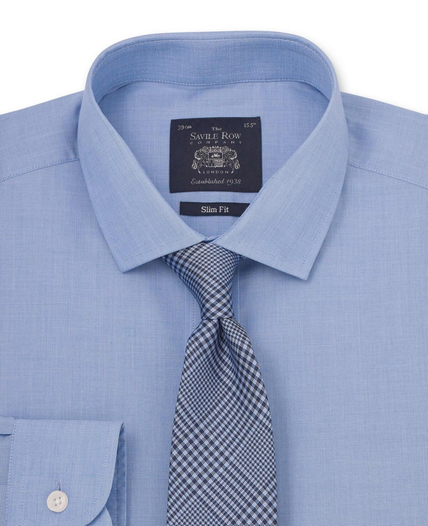 BLUE END ON END SLIM FIT SHIRT - SINGLE CUFF-1039BLU