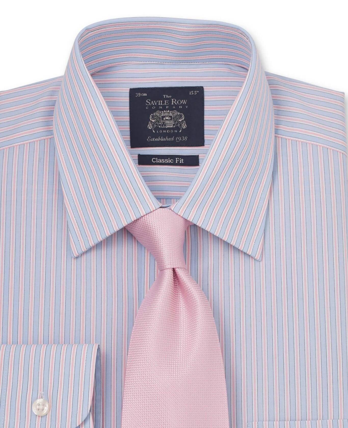 Blue Pink White Stripe Classic Fit Shirt - Single Cuff-1021SKP
