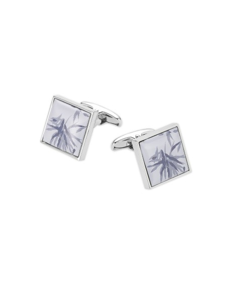 BLUE WHITE SQUARE ENAMEL CUFFLINKS-MCL985IND000