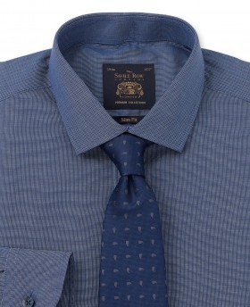 Premium Navy White Micro-Check Slim Fit Single Cuff Shirt-1005NAV - Small Image 280x344px