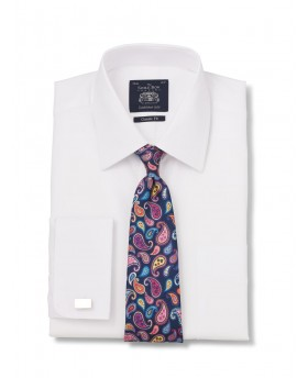 White Dobby Classic Fit Shirt Double Cuff-1077wht - Small Image 280x344px