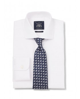 WHITE PINPOINT CLASSIC FIT SHIRT SINGLE CUFF-1117wht - Small Image 280x344px