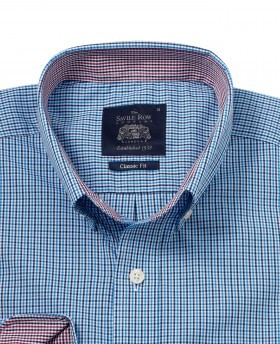 Blue Navy Check Classic Fit Casual Shirt -887BLN - Small Image 280x344px