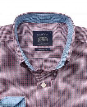 Navy Red Check Classic Fit Casual Shirt -887NAR - Small Image 280x344px