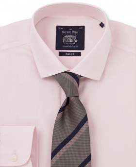 PINK HERRINGBONE NON IRON SLIM FIT SINGLE CUFF SHIRT-958PNK - Small Image 280x344px