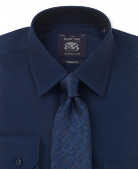 NON-IRON DARK NAVY HERRINGBONE CLASSIC FIT SHIRT – SINGLE CUFF-962NAV - Small Image 280x344px