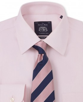 NON-IRON PINK HERRINGBONE CLASSIC FIT SHIRT – SINGLE CUFF-962PNK - Small Image 280x344px