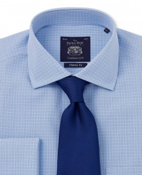 NON-IRON BLUE SMALL PRINCE OF WALES CHECK CLASSIC FIT SHIRT – SINGLE CUFF-966BLU - Small Image 280x344px