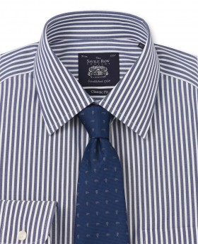 NON-IRON NAVY WHITE BENGAL STRIPE CLASSIC FIT SHIRT- SINGLE CUFF-969SNAV - Small Image 280x344px