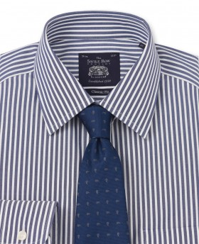NON-IRON NAVY WHITE BENGAL STRIPE CLASSIC FIT SHIRT- DOUBLE CUFF-969DNAV - Small Image 280x344px