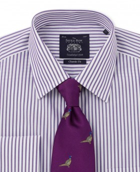 NON-IRON PURPLE WHITE BLUE BENGAL STRIPE CLASSIC FIT SHIRT – SINGLE CUFF-972PUR - Small Image 280x344px