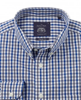 NON-IRON NAVY GREY WHITE CHECK SMART-CASUAL CLASSIC FIT SINGLE CUFF SHIRT-973WBG - Small Image 280x344px