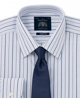 Light Blue Navy White Fine Stripe Classic Fit Single Cuff Shirt-977BLN - Small Image 280x344px