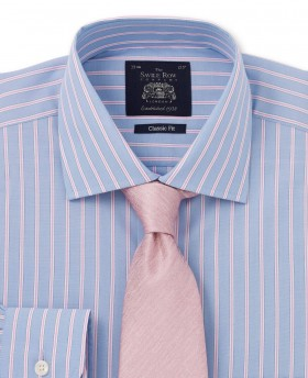 Blue Pink White Stripe Classic Fit Single Cuff Shirt-982BLP - Small Image 280x344px