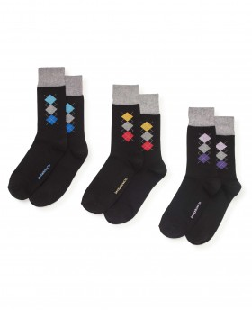 BLACK SMALL ARGYLE 3 PACK SOCK-MSO043BLK - Small Image 280x344px