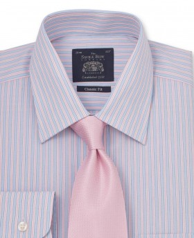 Blue Pink White Stripe Classic Fit Shirt - Single Cuff-1021SKP - Small Image 280x344px