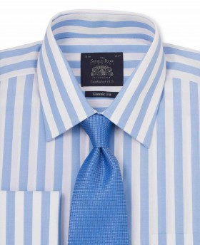 Blue White Bold Stripe Classic Fit Shirt - Double Cuff-1065BLU - Small Image 280x344px