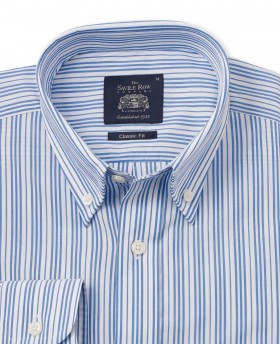 BLUE WHITE MULTI STRIPE CASUAL FIT SHIRT-1061NAV - Small Image 280x344px