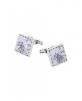 BLUE WHITE SQUARE ENAMEL CUFFLINKS-MCL985IND000 - Small Image 280x344px