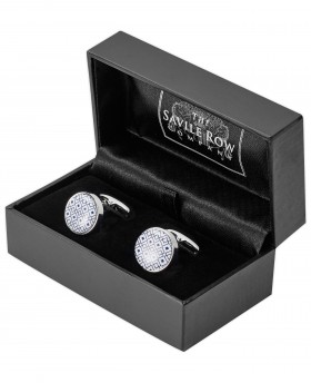 BLUE WHITE ROUND ENAMEL CUFFLINKS-MCL983IND000 - Small Image 280x344px