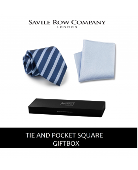 Navy Royal Blue Regimental Stripe Silk Tie and Pocket Square Gift Box-NAVY-ROYAL-GIFTBOX - Small Image 280x344px