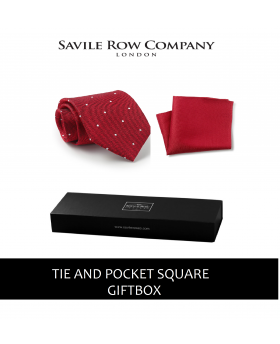 Red Textured Spot Silk Tie & Pocket Square Gift Box-REDTIEGIFTBOX - Small Image 280x344px