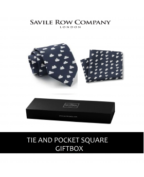 Navy White Cloud Print Silk Tie and Pocket Square Gift Box-BLUCLOUDGIFT - Small Image 280x344px