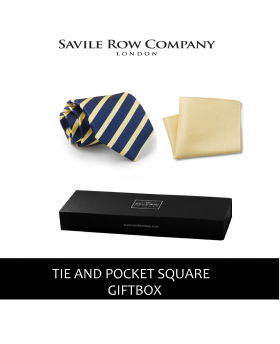 Navy Yellow Regimental Stripe Silk Tie and Pocket Square Gift Box-NAVYELGIFTBOX - Small Image 280x344px