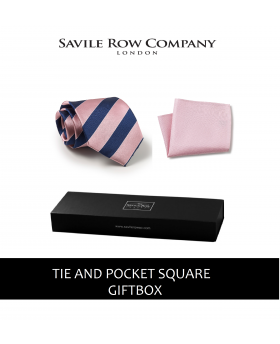 Pink Navy White Regimental Stripe Silk Tie and Pocket Square Gift Box-PNKNAVGIFTBX - Small Image 280x344px