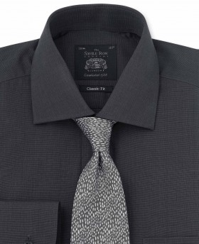 Grey End On End Classic Fit Shirt - Single Cuff-1028CHR - Small Image 280x344px