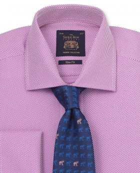 Lilac Bold Twill Slim Fit Shirt - Double Cuff-1047LIL - Small Image 280x344px