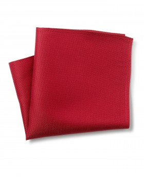 RED BIRDSEYE TEXTURED SILK POCKET SQUARE-MHK224RED - Small Image 280x344px
