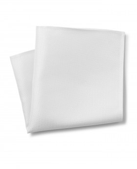 WHITE BIRDSEYE TEXTURED SILK POCKET SQUARE-MHK224WHT - Small Image 280x344px