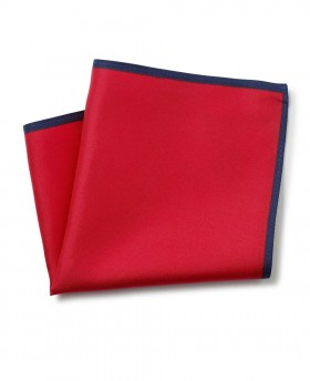 RED NAVY BORDER SILK POCKET SQUARE-MHK225REN - Small Image 280x344px