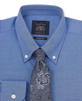 Mid Blue Pinpoint Oxford Button Down Classic Fit Shirt-1029MBL - Small Image 280x344px