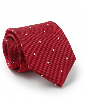 Red Textured Spot Silk Tie-MTI328RED000 - Small Image 280x344px