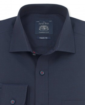 NAVY END ON END CLASSIC FIT SHIRT - SINGLE CUFF-1028NAV - Small Image 280x344px